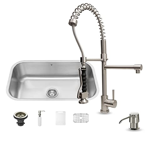 VIGO 30 inch Undermount Single Bowl 18 Gauge Stainless Steel Kitchen Sink with Zurich Stainless Steel Faucet, Grid, Strainer and Soap Dispenser