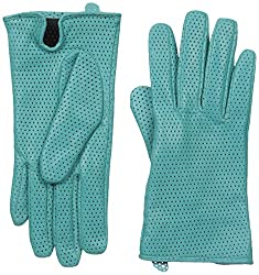 Gloves International Women's Perforated Leather Gloves, Turquoise, Large