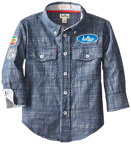 Hatley Little Boys' Button Down Shirt - Big Rig Trucks, Blue, 4 front-999508
