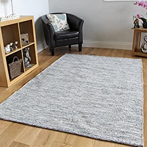 New soft luxury blue hand woven cotton area for Living room rugs amazon