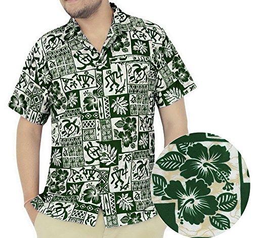 La Leela Hawaiian Shirt For Men Short Sleeve Front-Pocket Vintage Flora Green 0