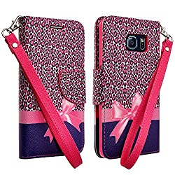 Vangoddy Pink Cheetah Bow Design Standing Wallet Carrying Case