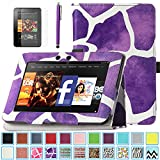 Kindle Fire HD 7.0 Case - ULAK Slim Fit PU Leather Standing Protective Cover with Auto Sleep/Wake Feature for Amazon Kindle Fire HD 7.0 Inch 2012 Gen with Screen Protector, Purple Giraffe Skin