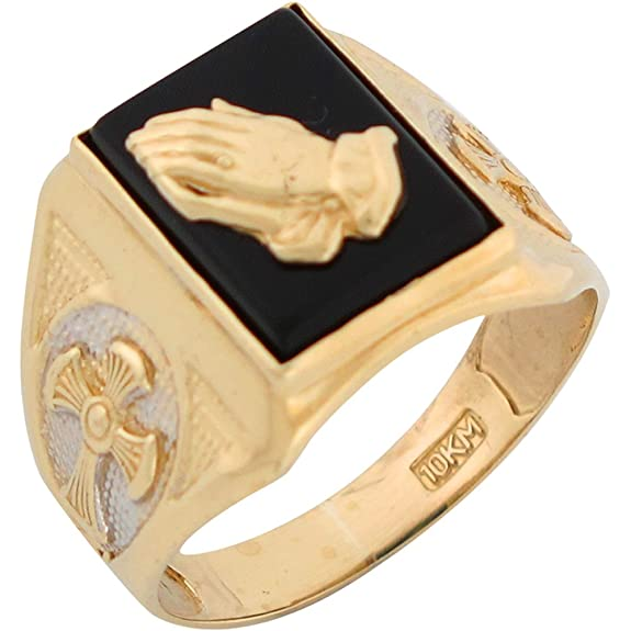 9ct Two Colour Gold Onyx Religious Praying Hands And Crosses Mens Ring