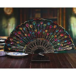 Mytaylors Embroidered Flower Pattern Cloth Folding Hand Fan Colored Black (Colored Black)