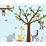 Safari Pride Jungle Tree Wall Decals, Jungle Stickers with Green Leaves and Vinyl Tree (Color: Safari Pride, Tamaño: Full Decal: Vinyl Tree)