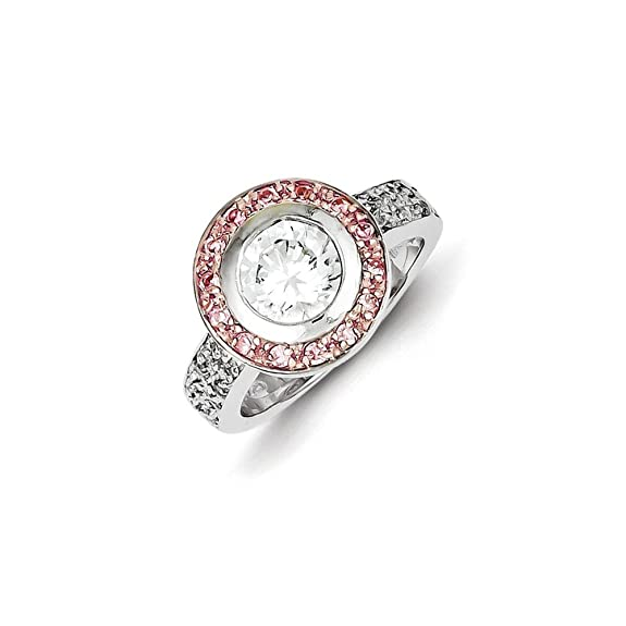 Sterling Silver Pink Vermeil CZ Ring