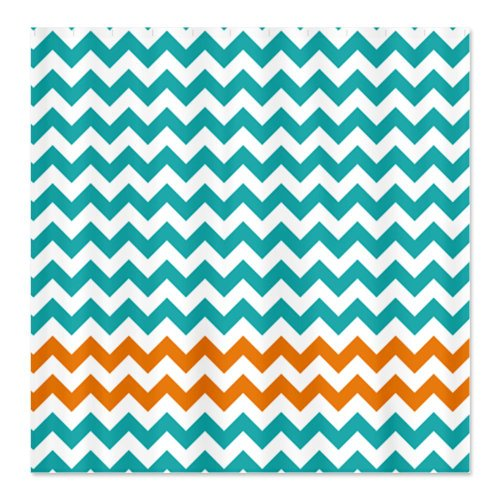 Turquoise and Orange Chevron Stripes