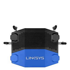 Linksys WRT AC1900 Dual-Band+ Wi-Fi Wireless Router with Gigabit & USB 3.0 Ports and eSATA, Smart Wi-Fi Enabled to Control Your Network from Anywhere (WRT1900AC) Certified Refurbished (Color: Black and blue, Tamaño: AC1900)