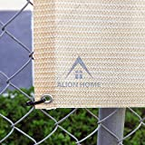 Alion Home© Elegant Privacy Screen Mesh Windscreen For Backyard Deck, Patio, Balcony, Pool, Porch, Fence. No Black Trim. 35 Inches Height Banha Beige (35''x26')