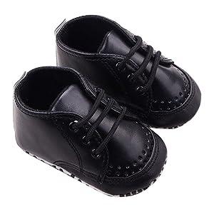 Sagton Baby Shoes Sneaker Soft Sole Toddler Crib Shoes (US:4, Black)
