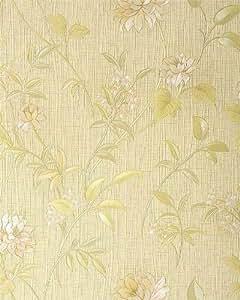 Papier peint haut de gamme motif edem 751 33 floral style asiatique jaune pastel ros - Papier peint haut de gamme ...