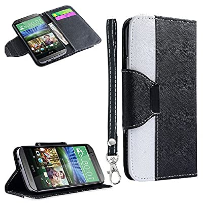 myLife Cloudy Black + White {Modern Design} Faux Leather (Card, Cash and ID Holder + Magnetic Closing) Slim Wallet for the All-New HTC One M8 Android Smartphone - AKA, 2nd Gen HTC One (External Textured Synthetic Leather with Magnetic Clip + Internal Secure Snap In Hard Rubberized Bumper Holder)