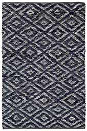 Blue & White Diamonds (5\'x8\') Leather Chindi Rug