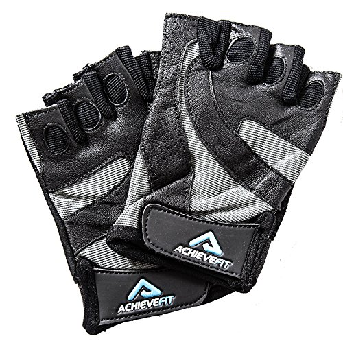 ACHIEVE FIT Weightlifting Gloves - Leather Palm for Fitness savvy Men & Women, Firm Grip, Control & Comfort for Weight lifting, Powerlifting, Crossfit Training, Gym Workout (Medium, Standard)