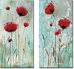Splash Poppies I & II by Catherine Brink 2-pc Premium Gallery Wrapped Canvas Giclee Art Set (Ready-to-Hang)