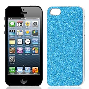 Sky Blue Glitter Powder Argyle Pattern Back Case Cover Shell for iPhone 5 5G