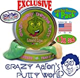 Crazy Aaron's Thinking Putty Strange Attractor (Super Magnetic), Liquid Glass (Clear), Krypton (Glow in the Dark) & Exclusive Lizard Lips (Heat Sensitive Hypercolor) Gift Set Bundle - 4 Pack