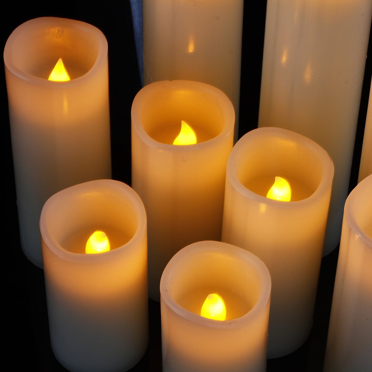 """comenzar Flameless Candles, Battery Candles Set of 9(H 4"""" 5"""" 6"""" 7"""" 8"""" 9"""" xD 2.2"""") Ivory Real Wax Pillar Candles With Remote Timer by (Batteries not included)"""