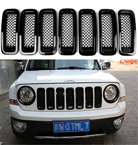 FMtoppeak 7 Pcs Black Front Grill Mesh Insert Trim Cover for 2011-2016 Jeep Patriot (2014 Jeep Patriot Grill Insert compare prices)