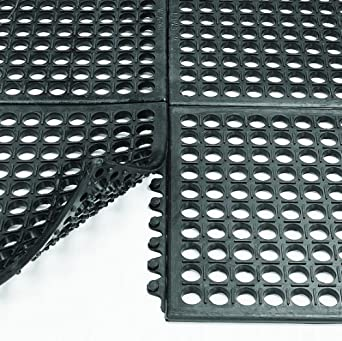 "Wearwell Nitrile Rubber 472 WorkSafe Anti-Fatigue Modular Mat, for Wet Areas, 3' Width x 3' Length x 1/2"" Thickness, Black"