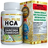 PURE HCA Diet Pills (Extreme Potency) Garcinia Cambogia Extract Slim Formula Appetite Suppressant Hydroxycitric Acid Carb Blocker To Reduce Belly Fat And Lose Weight For Men And Women