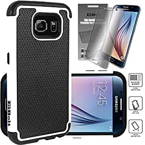 Galaxy S6 Case ElBolt® 2 in One Combo Cyber Defender® Series Case Samsung - White with Free HD Screen Protector
