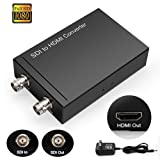 HD 3G SDI to HDMI Converter Splitter, ULBRE BNC to BNC 1080p Digital Adapter Coaxial HDTV Box Dongle, Video Audio Synchronous Output Repeater for Professional Camcorders Camera TV CCTV (Color: Black/with power supply)