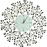 Lulu Decor, Spring Blooms, Lines Dial, Decorative Metal Wall Clock, Golden and Black, Size 24.50