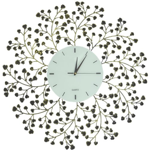 Lulu Decor, Spring Blooms, Lines Dial, Decorative Metal Wall Clock, Golden and Black, Size 24.50, Silent Non-ticking, High Quality Quartz Movement, Perfect for Housewarming Gift. (Line)