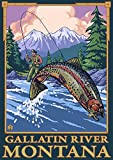 Fly Fishing Scene - Gallatin River, Montana (12x18 Art Print, Wall Decor Travel Poster)
