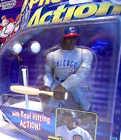 Sammy Sosa Action Figure of the Chicago Cubs with Real Hitting Action! - 1998 Starting Lineup Pro Action Baseball