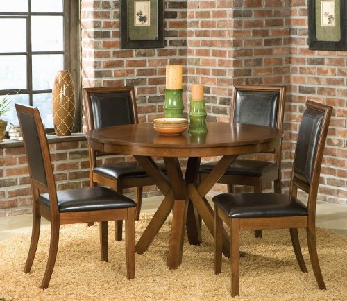 5pc Casual Dining Table & Chairs Set Walnut Finish
