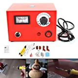 NOPTEG 110V 50W DIY Craft Multifunction Pyrography Machine with 2Pcs Pyrography Pen Copper Heating Solder Tip Gourd Wooden Tool Set (Color: Red)