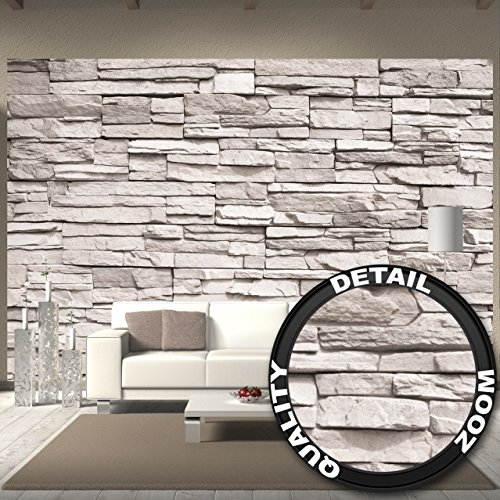 fototapete wei e steinwand wand dekoration wandbild steinmauer poster motiv by great art 336. Black Bedroom Furniture Sets. Home Design Ideas