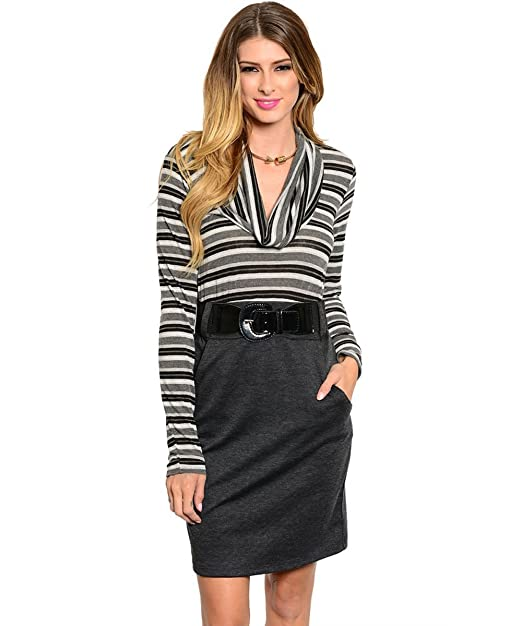 Stanzino Women's Two Tone Striped Cowl Neck Casual Dress
