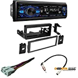 Dual Electronics DC208BT Multimedia Detachable 8 Character LCD Single DIN Car Stereo with Built-in Bluetooth, CD, USB & MP3 Player with Dash kit Chevrolet 1995-2002 Full Size Truck 1500/2500/3500