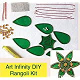Art Infinity Rangoli Kit ( Do It Yourself ) Green Leaf Shape Design