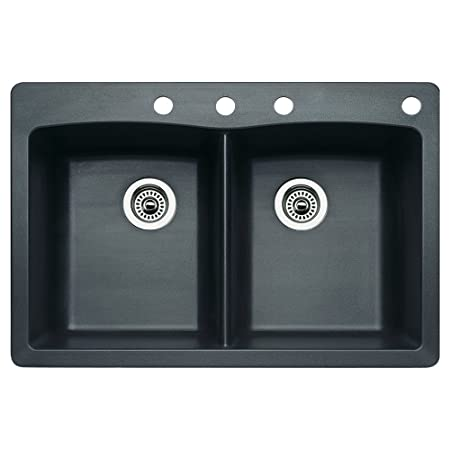 Blanco 440220-4 Diamond 4-Hole Double-Basin Drop-In or Undermount Granite Kitchen Sink, Anthracite