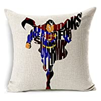 "Cotton Linen Square Decorative Throw Pillow Case Cushion Cover The avengers alliance hero superman iron man letters 18 ""X18 ""inches from DIY ARTICLE"