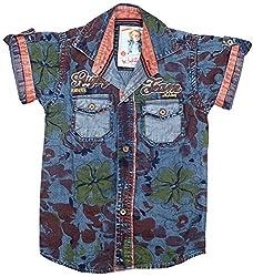 Kidzee 100% Cotton Fashionable Orange Color Designer Floral Printed Shirt