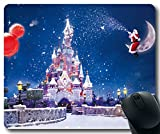 Christmas-And-New-Year-The-Disney-Castle-Snow-Flying Mousepad,Rectangle Mouse Pad