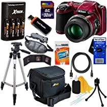 Nikon COOLPIX L820 16 MP CMOS Digital Camera with 30x Zoom Lens & HD Video - Red (Import) + 4 AA High Capacity Batteries with Quick Charger + 11pc Bundle 32GB Deluxe Accessory Kit w/ HeroFiber® Ultra Gentle Cleaning Cloth