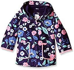 Carter\'s Baby Girls Printed Jersey Lined Rain Slicker, Navy Floral, 18 Months