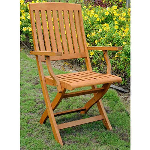 International Caravan Royal Tahiti Yellow Balau Wood Folding Arm Chair (Set of 2) (Balau Wood compare prices)