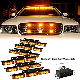 XKTTSUEERCRR 54x LED Ultra Bright Emergency Service Vehicle Dash Deck Grill Warning Flashing Strobe Light (Amber)