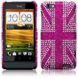 HTC One V Pink Union Jack Diamante Case / Cover / Shell / Shield Part Of The Qubits Accessories Rangeby Qubits