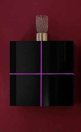 Dreams4Home Hängeschrank / Sideboard Square Kommode Wohnzimmer weiß o schwarz hochglanz LED-RGB-Beleuchtung, Beleuchtung:mit Beleuchtung;Farbe:Schwarz