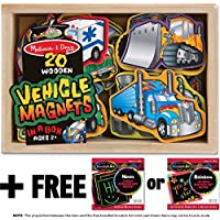 Vehicle Wooden 20 Magnets-in-a-Box Gift Set + FREE Melissa & Doug Scratch Art Mini-Pad Bundle [85885