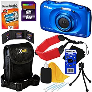 Nikon COOLPIX S33 Waterproof & Shockproof 13.2 MP Digital Camera with 3x Zoom NIKKOR Lens and Full HD 1080p Video, Blue (Import) + 8pc Bundle 8GB Accessory Kit w/ HeroFiber® Ultra Gentle Cleaning Cloth